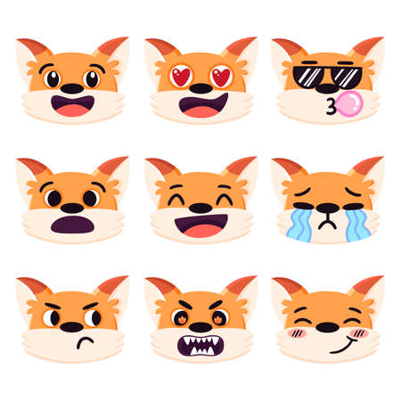 Set of cartoon red fox emotions, different facial expressions: laughing, in love, angry, crying, sad, cool, embarrassed etc. Colorful vector emoji isolated on white background.