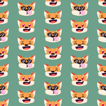 Seamless pattern with funny cartoon red fox emotions, different facial expressions: laughing, in love, cool. It can be used for packaging, wrapping paper, textile etc.