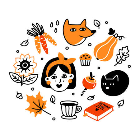 Autumn set. Collection of cartoon characters, plants, food and things. Beautiful print for Fall season party, Harvest festival or Thanksgiving day. Illusztráció
