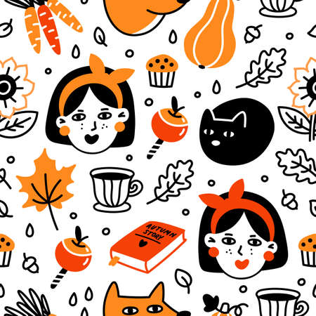Autumn seamless pattern with girls, cat, fox, desserts, plants, cup af tea and book. It can be used for packaging, wrapping paper, textile, home decor etc. Illusztráció