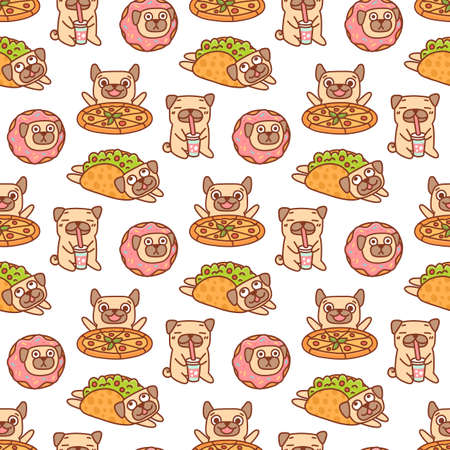 Funny seamless pattern with pug dogs and fast food: pizza, tacos, donut and drink, on a white background. It can be used for packaging, wrapping paper, textile, home decor, menu etc. Illusztráció
