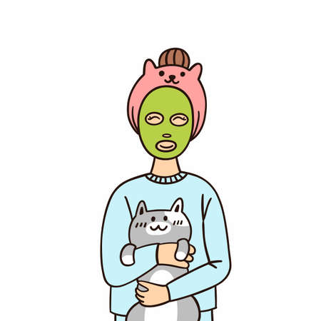 Young woman with green face mask for skincare, hugging with cute cat, isolated on a white background. Cartoon vector illustrationt for sticker, card, brochures, poster etc.