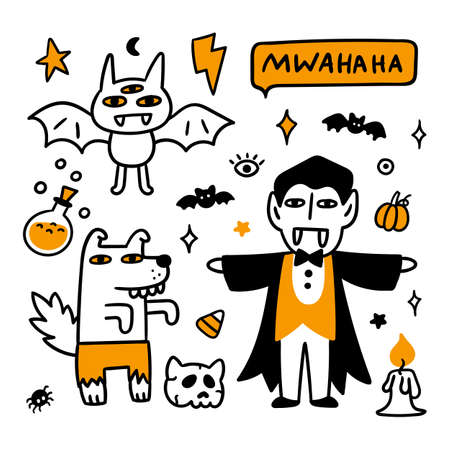 Spooky cartoon characters: vampire, werewolf and three-eyed bat. Beautiful print for Halloween. Graphic vector illustration. Illusztráció