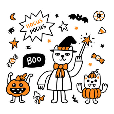 Spooky cartoon characters: wizard cat, scary pumpkin and vampire cat in a pumpkin costume. Beautiful print for Halloween. Graphic vector illustration.