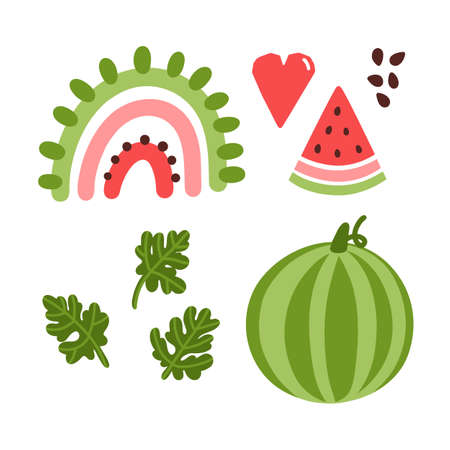 Colorful set vector elements: abstract rainbow, slice of watermelon, heart, watermelon, leaves and seeds. Beautiful print in Scandinavian style.