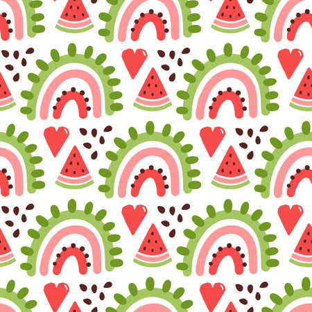 Colorful seamless pattern with rainbow, slice of watermelon and heart, in Scandinavian style. It can be used for packaging, wrapping paper, textile, home decor etc. Illusztráció
