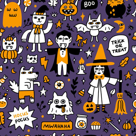Halloween pattern with spooky characters and holiday attributes. It can be used for packaging, wrapping paper, textile, home decor etc. Graphic vector illustration. Illusztráció