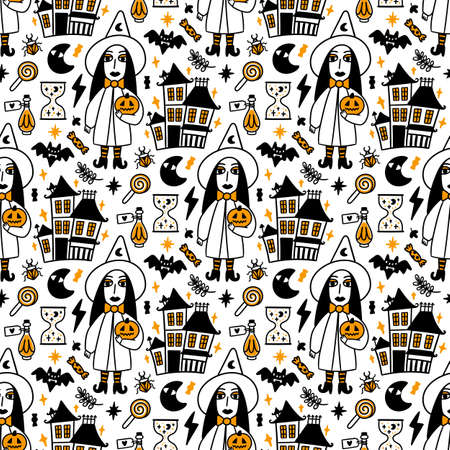 Seamless pattern with spooky Witch, magic old Castle and with Holiday attributes