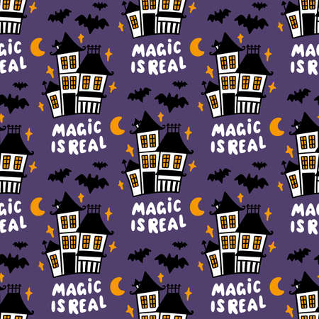 Seamless pattern with magic old Castle and bats on purple background. Beautiful print for Halloween. It can be used for packaging, wrapping paper, textile, home decor etc. Inscription: Magic is real.