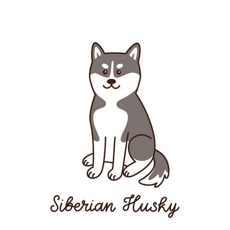 Ð¡ute kawaii dog of breed Siberian Husky isolated on white background. Cartoon vector illustration. It can be used for sticker, patch, phone case, poster, t-shirt, mug and other design. 向量圖像