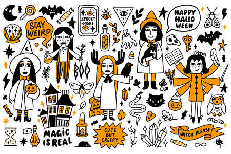 Happy Halloween Set of 5 Creepy characters witches and 60 magical handdrawn elements, 7 inscriptions: Magic is real, Stay weird, Spooky night, Cute but creepy, Witch please, Happy Halloween, Boo. 矢量图像