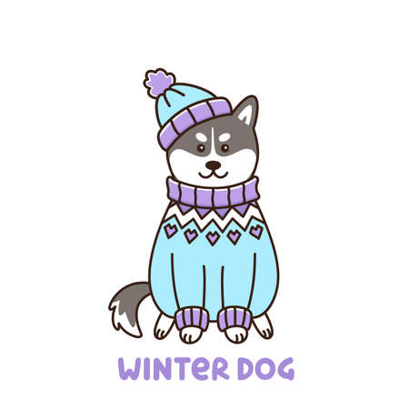 Ð¡ute kawaii dog of breed Siberian Husky in Icelandic sweater and hat, isolated on white background. It can be used for sticker, patch, phone case, poster, t-shirt, mug and other design.