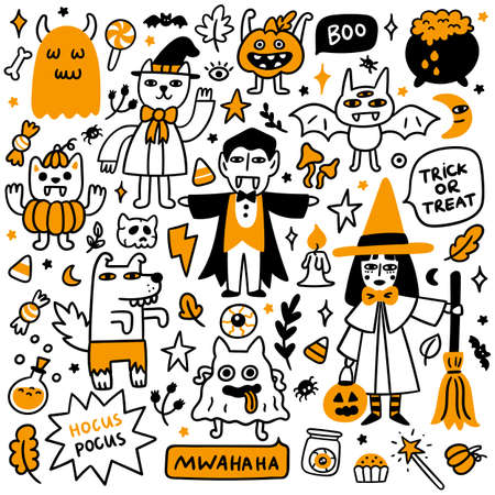 Happy Halloween Set of 9 Spooky cartoon characters (Witch, ghosts, cat wizard, bat, zombie werewolf, funny vampires, scary pumpkin), 4 inscriptions and 30 different halloween attributes.