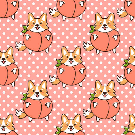 Seamless pattern with cute dog of breed Welsh Corgi in funny costume fruit peach. Beautiful print for packaging, wrapping paper, textile, home decor etc.