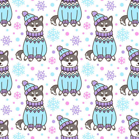 Seamless pattern with dog Siberian Husky in Icelandic sweater and hat, with snowflakes, on white background. Beautiful print for packaging, wrapping paper, textile, home decor etc.