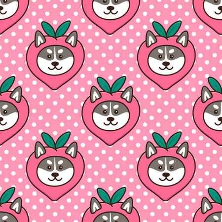 Seamless pattern with cute kawaii dog Siberian Husky in funny costume fruit peach. Beautiful print for packaging, wrapping paper, textile, home decor etc. Иллюстрация