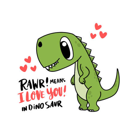 Funny character dinosaur or Tyrannosaurus. Cute T-Rex. Adorable jurassic reptile. The inscription: Rawr! means I love you! Colored vector illustration for Valentine's day.