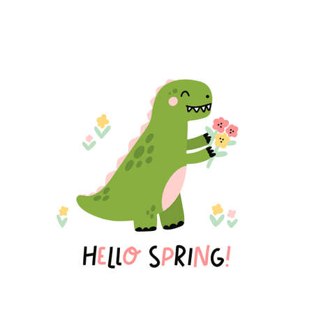 Funny character dinosaur or Tyrannosaurus with flowers. Cute T-Rex. The inscription: Hello Spring! Colored vector illustration in scandinavian style.
