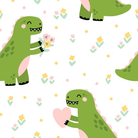 Seamless pattern with cute dinosaur or Tyrannosaurus with flowers and heart. Beautiful print for home decor, textile, packaging, wrapping paper etc. Vector illustration in Scandinavian style. Vecteurs