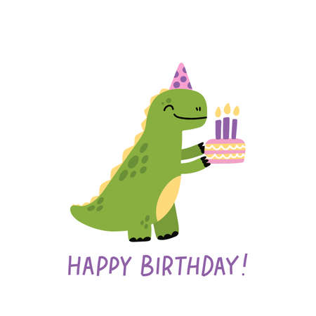 Funny character dinosaur or Tyrannosaurus with birthday cake. Cute T-Rex. The inscription: Happy Birthday! Colored vector illustration in scandinavian style.