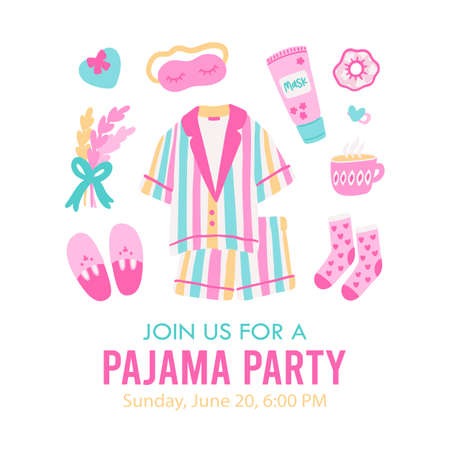 Pajama party invitation template. Card for birthday party with sample text. Editable vector illustration. 矢量图像