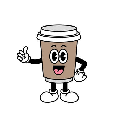 Character Coffee Cup in cartoon vintage style. Vector illustration isolated on a white background.