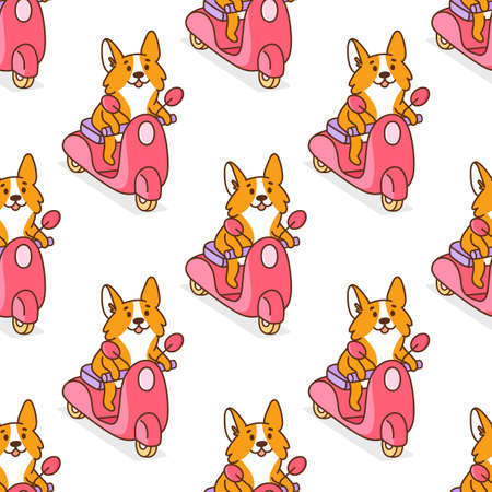 Seamless pattern with corgi dog rides on a pink motobike. It can be used for card, flyer, packaging, wrapping paper, etc.