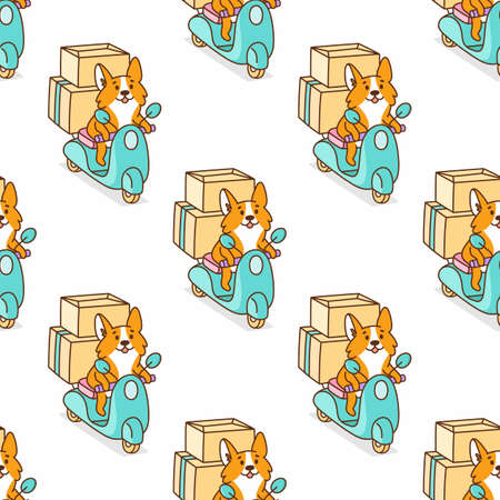 Seamless pattern with cute corgi dog rides on a blue motobike with cardboard boxes. It can be used for card, flyer, packaging, wrapping paper, etc.