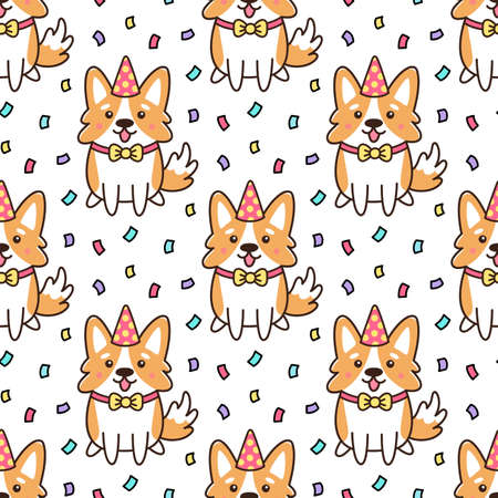 Seamless pattern with Birthday dog of breed Welsh Corgy in hat and confetti. It can be used for packaging, wrapping paper, decor etc. Cartoon vector illustration.