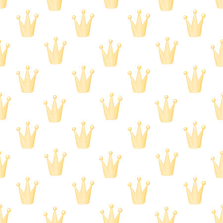 Seamless pattern with gold crown on white background. Beautiful print design for decor, textile, packaging, wrapping paper etc.