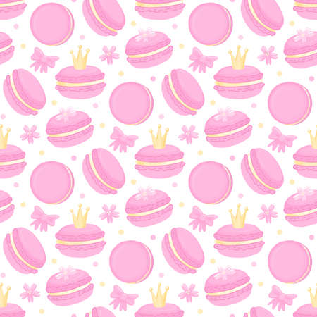 Cute pattern with macaroon (French confection of egg whites, icing sugar, ground almonds and food coloring), with crown, sakura flowers, and bow. Beautiful print design for decor, textile, packaging, wrapping paper etc.