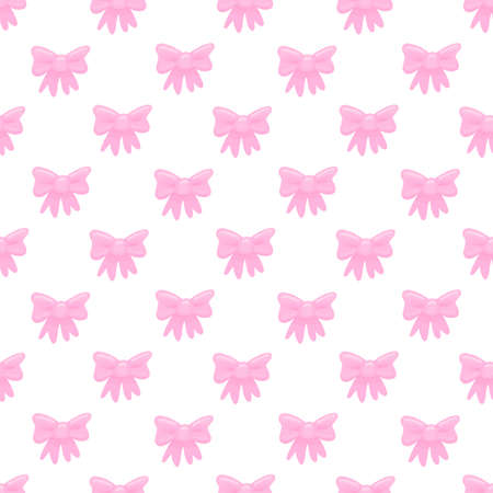 Seamless pattern with pink bow on white background. Beautiful print design for decor, textile, packaging, wrapping paper etc.