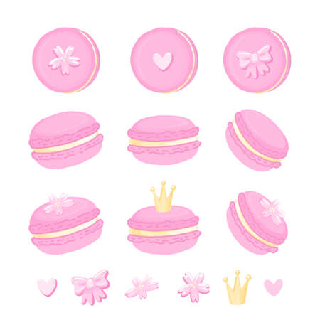 Set of cute macaroons with crown, sakura flowers, bow and heart. Macaroon - French confection of egg whites, icing sugar, ground almonds and food coloring.