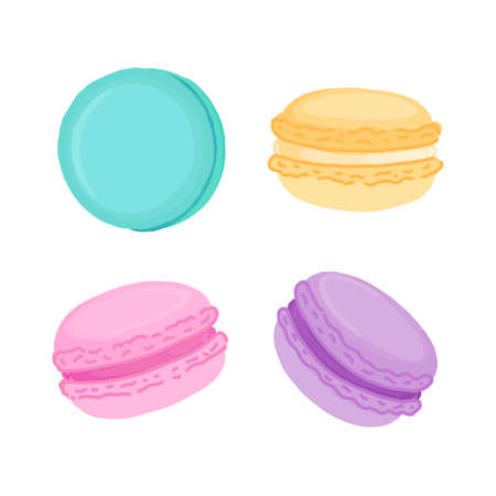 Set of multicolored macaroons isoleted on white background. Macaroon - French confection of egg whites, icing sugar, ground almonds and food coloring.