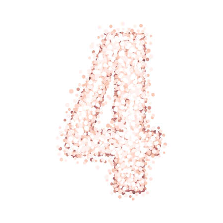 Beautiful number four of pink gold glitter isolated on a white background. Design for birthday cards, invitations, posters etc. 일러스트