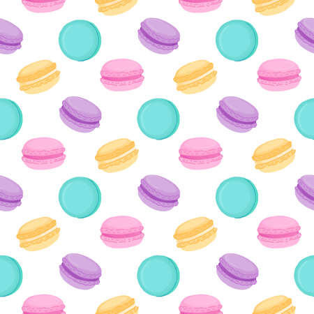 Seamless pattern with multicolored macaroons. Macaroon - French confection of egg whites, icing sugar, ground almonds and food coloring.