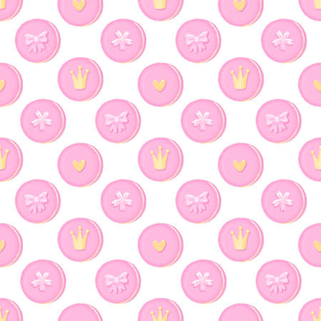 Seamless pattern of macaroons with crown, sakura flowers, bow and heart. Beautiful print for decor, textile, packaging, wrapping paper etc. Macaroons - French confection of egg whites, icing sugar, ground almonds.