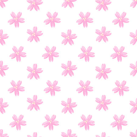 Cute pattern with sakura flowers or cherry blossom on white background. Beautiful print design for decor, textile, packaging, wrapping paper etc. 일러스트