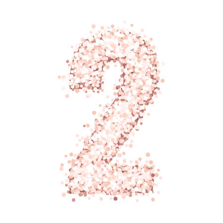 Beautiful number two of pink gold glitter isolated on a white background. Design for baby birthday cards, invitations, posters etc.