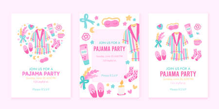 Colorful collection of 3 vertical cards or backgrounds with sample text. Pajama party invitation templates. Vector illustration in flat cartoon style.