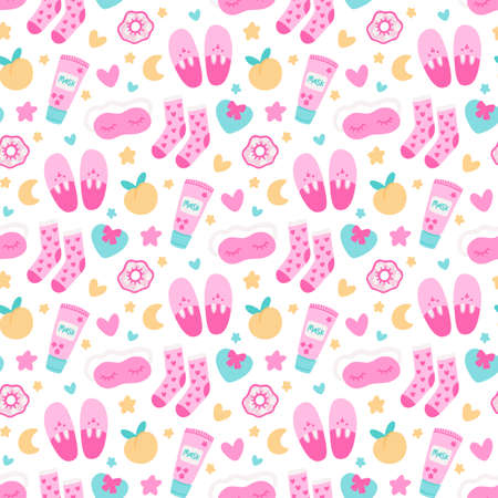 Cute seamless pattern with sleep mask, slippers, scrunchy, face mask, socks, hearts, peach, stars and moon. Beautiful print design for home decor, textile, packaging, wrapping paper etc. Flat vector illustration isolated on white background. 일러스트
