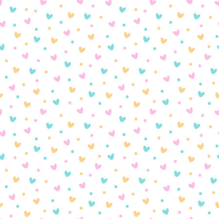 Simless pattern with festive colorful confetti and hearts. It can be used for packaging, wrapping paper, decor etc. Vector illustration on a white background.