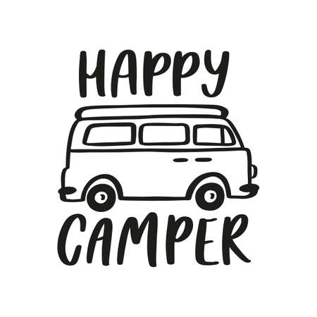 Happy Camper. Hand drawn lettering isolated on white background. 矢量图像