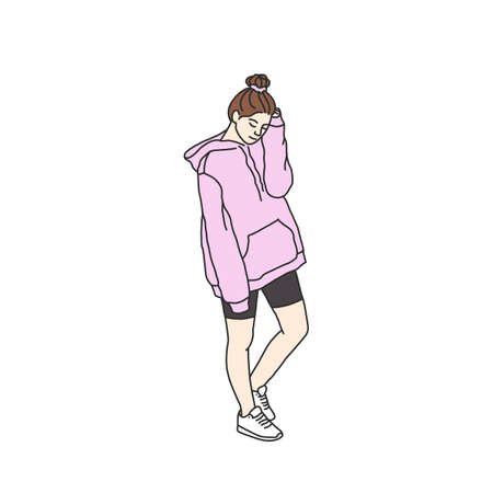 Teen girl with a bun hairstyle in a trendy sporty outfit. Modern sport look. Young female in a leggings, hoodie and sneakers. Vector illustration in korean style isolated on white background