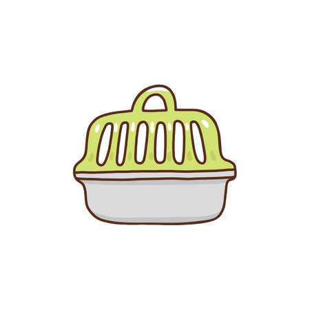 Pet carry case for animals, dog, cat isolated on white background. Vector illustration carrying case, cage, pet box.