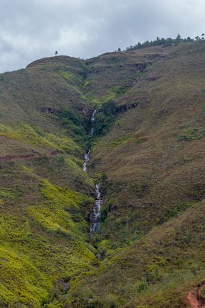 beautiful waterfall in the mountains of colombia Фото со стока