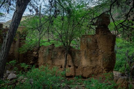 PEASANT HOUSE RUINS MADE OF BAREQUE IN THE CHICAMOCHA CANYON COLOMBIA