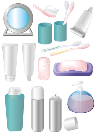 toothpaste tube: The collection of items of the bathroom  Illustration