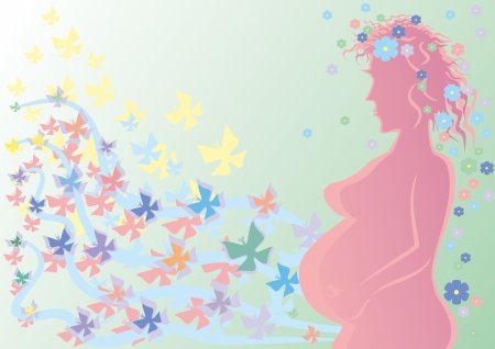 Silhouette of the pregnant woman against butterflies. Vector