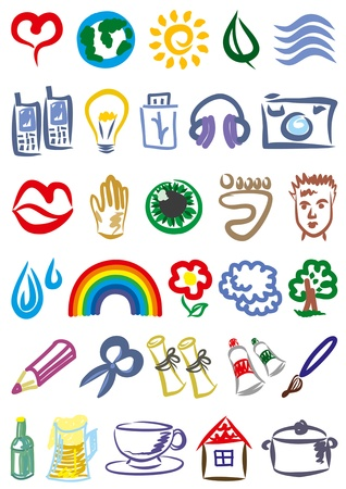 Set of various symbols and signs. Vector